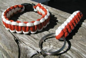 8 Inch Orange & White Paracord Bracelet & Key Chain