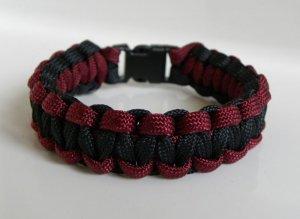8 Inch Black & Burgundy Paracord Bracelet