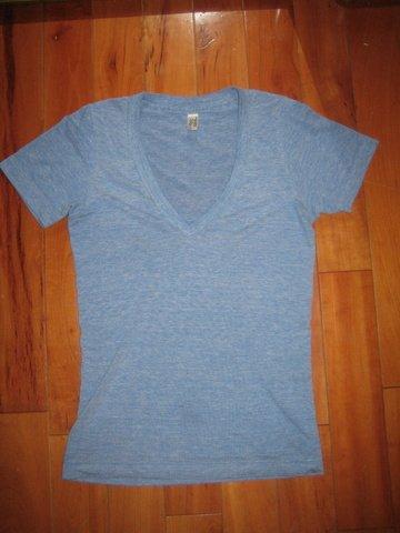 American Apparel blue v-neck Tee - XXS/ XS