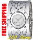 Gucci YA112413 Ladies Series 112 Twirl Bangle Style Wide White Dial