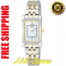 Citizen EG3124-51D Ladies Two Tone Stainless Steel Stiletto Bracelet with Diamonds Mother of Pearl