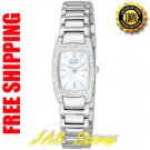 Citizen EW9620-53D Ladies Stainless Steel Eco-Drive Silhouette Mother of Pearl Dial with Crystals