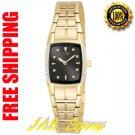 Citizen EW9712-57E Ladies Eco-Drive Gold Tone Dress Watch Black Dial Diamonds