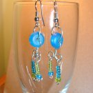 Blue and Green Loopy Earrings
