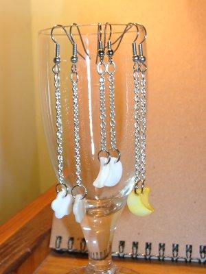 Dangling Moon/Flower Earrings