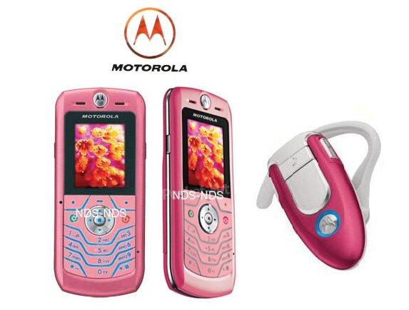 Motorola L6 Pink SLVR + Bluetooth headset