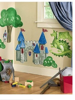 WALLIES Big Murals Medieval Times Knight Castle 7 pc