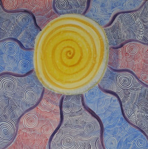 Sun Spiral Series abstract matted print watercolor art Paula M