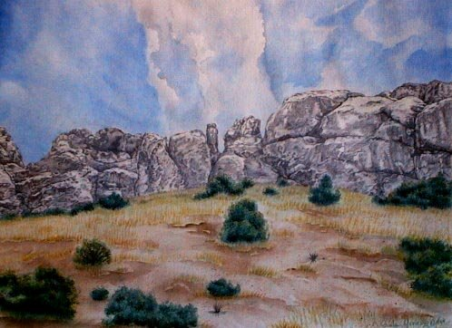 La Cueva Limited print southwest landscape watercolor art Paula M