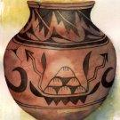 San Ildefonso pottery print matted watercolor art Paula M