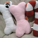 "HUGE 21"" Fleece 5 Squeaker Holiday Dog Toys Pink White Bone Candy Cane"