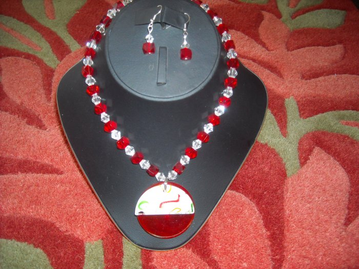 Red and clear crystal necklace