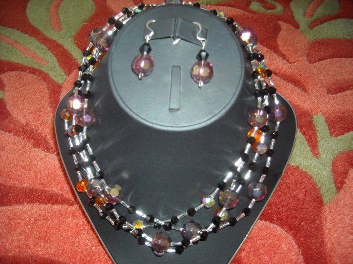 Amethyst and Amber colored crystal necklace