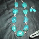 Chunky Turquoise nuggets necklace with earrings