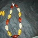 Delicate Amber necklace with earrings