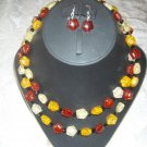 Two layered Amber necklace with earrings