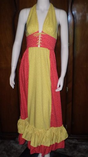 Vintage 60s Patio Maxi Dress Small