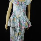 Vintage 80s Peplum Dress Small