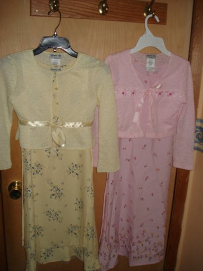 2 MODEST GIRLS SPRING DRESSES  #09-0107
