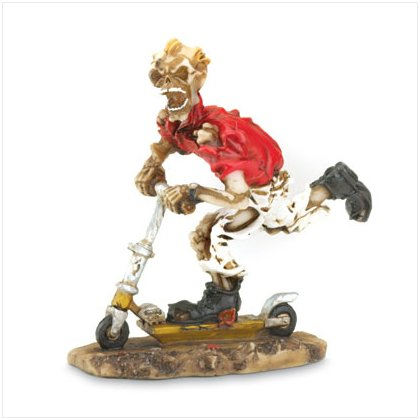 Scooter Skeleton Figurine