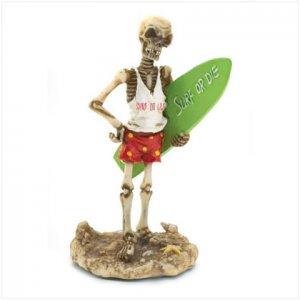 Surfer Skeleton Figurine