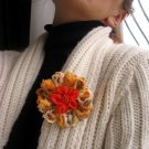 Orange Flower Brooch