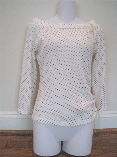 Cream Black Polka Dotted Shirt Med FREE SHIPPING