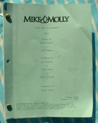 """""""MIKE & MOLLY"""" TV Show Script 52 Pages 2012-13 Season"""