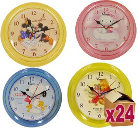 24 x Cartoon Wall Clocks - Winnie, Mickey, Snoopy, Hello Kitty