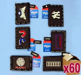 60 x Assorted Sports Wallets with Embroidery