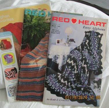 3 Red Heart Crochet afghan leaflets