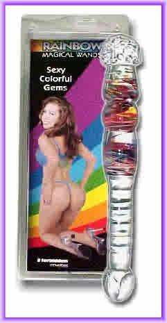 """Rainbow Magical Wands 9"""" Glass Dildo"""