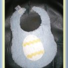 Boutique Blue Chenille and Flannel Decorated Easter Egg Baby Bib