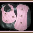 Boutique Baby Shower Gift Set in Pink John Deere Cotton & Chenille 1 Bib & 1 Burp