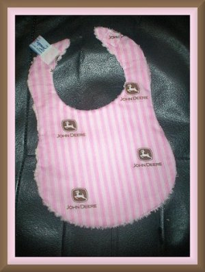 Boutique Pink John Deere and Chenille Baby Bib