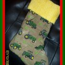 Brown Denim John Deere and Chenille Handmade Christmas Stocking FREE US AND CANADA SHIPPING