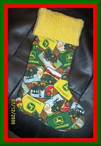 Faux Patchwork John Deere and Chenille Handmade Christmas Stocking FREE US AND CANADA SHIPPING