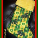Yellow & Green John Deere & Chenille Handmade Christmas Stocking FREE US & CANADA SHIPPING