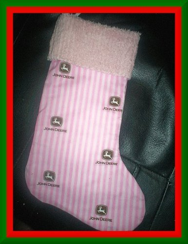 Pink Ticking John Deere and Chenille Handmade Christmas Stocking FREE US AND CANADA SHIPPING