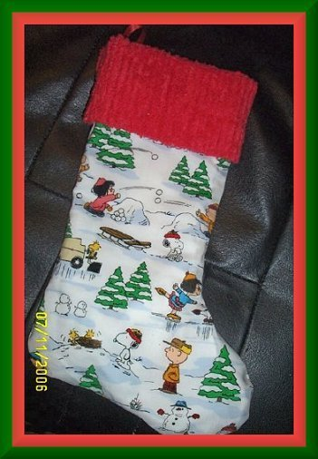 White Snoopy Peanuts and Chenille Handmade Christmas Stocking FREE US AND CANADA SHIPPING