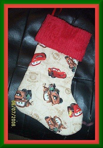 Disney Pixar Cars Lightening McQueen Handmade Christmas Stocking FREE US & CANADA SHIPPING