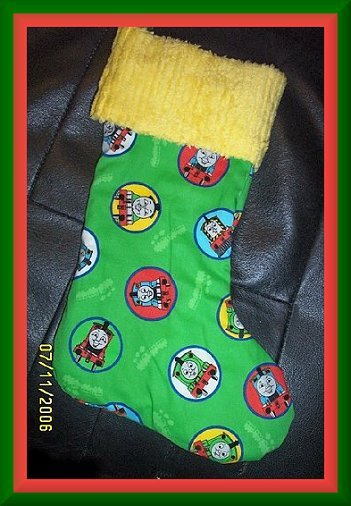 Thomas the Tank Engine and Friends on Green Handmade Christmas Stocking FREE US & CANADA SHIPPING