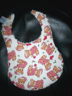 Handmade Christmas Baby Bib ~ Christmas Teddy Bears FREE US AND CANADA SHIPPING