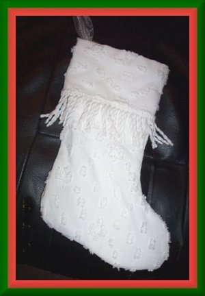 Handmade Christmas Stocking ~ Vintage Chenille Cutter FREE US AND CANADA SHIPPING