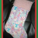 Handmade Christmas Stocking ~ Sweet Pink Purple Snowman FREE US AND CANADA SHIPPING