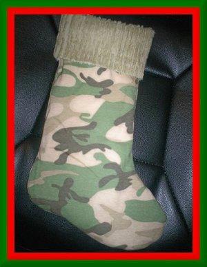 Handmade Christmas Stocking ~ Sand Camo Camouflage FREE US AND CANADA SHIPPING