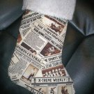 Handmade Christmas Stocking ~ Newspaper Newsprint FREE US AND CANADA SHIPPING