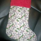 Handmade Christmas Stocking ~ Golf Clubs Tees & Balls FREE US AND CANADA SHIPPING