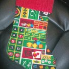 Handmade Christmas Stocking ~ Gaming Casino Black Jack  FREE US AND CANADA SHIPPING
