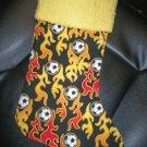 Handmade Christmas Stocking ~ Flaming Soccer Balls FREE US AND CANADA SHIPPING
